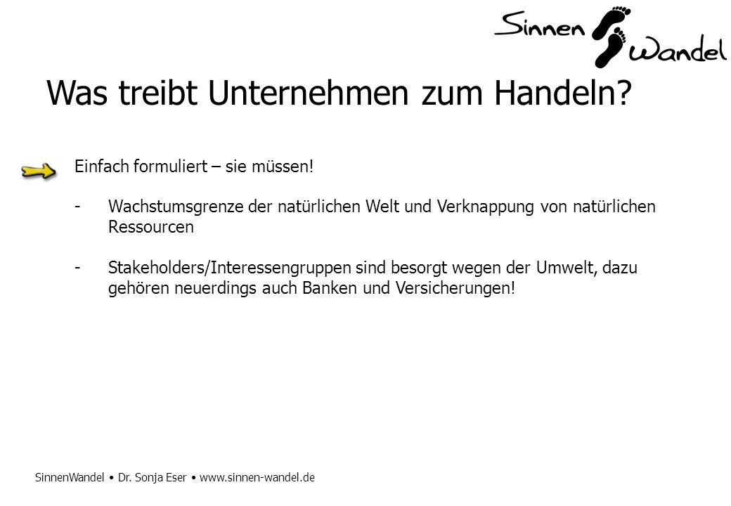 SinnenWandel Dr. Sonja Eser www.sinnen-wandel.de Was treibt Unternehmen zum Handeln? Einfach formuliert – sie müssen! -Wachstumsgrenze der natürlichen