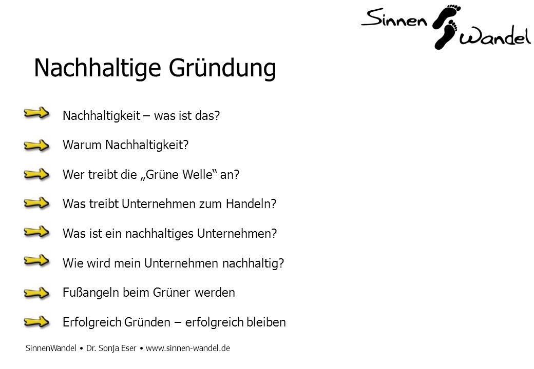 SinnenWandel Dr. Sonja Eser www.sinnen-wandel.de Nachhaltige Gründung Nachhaltigkeit – was ist das? Warum Nachhaltigkeit? Wer treibt die Grüne Welle a