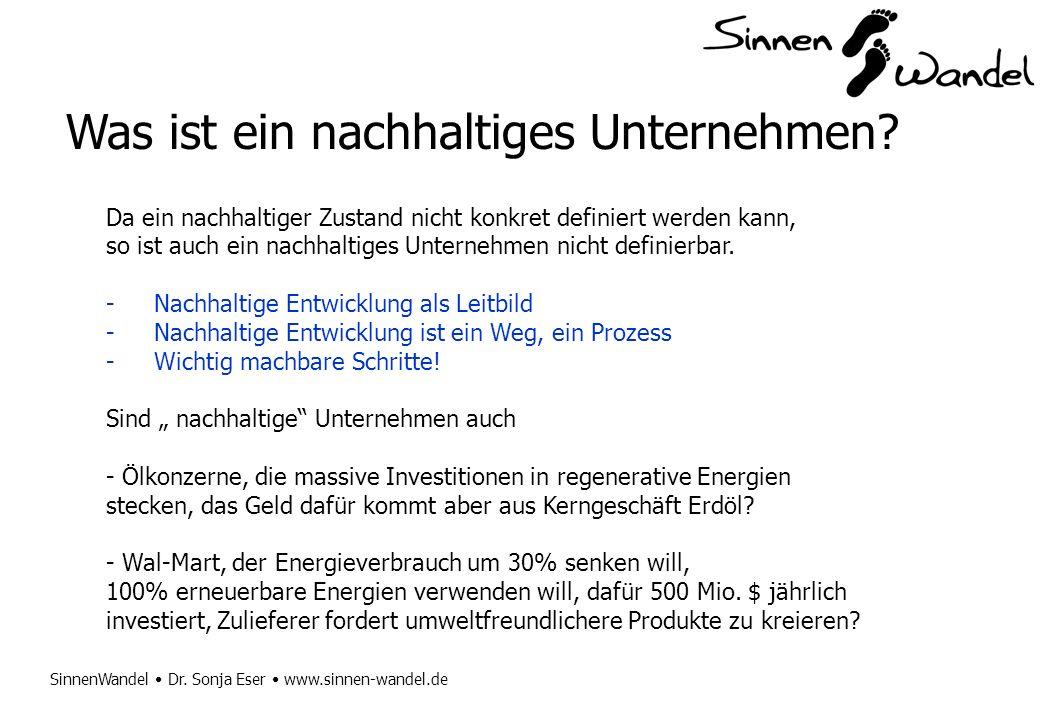 SinnenWandel Dr. Sonja Eser www.sinnen-wandel.de Was ist ein nachhaltiges Unternehmen? Da ein nachhaltiger Zustand nicht konkret definiert werden kann