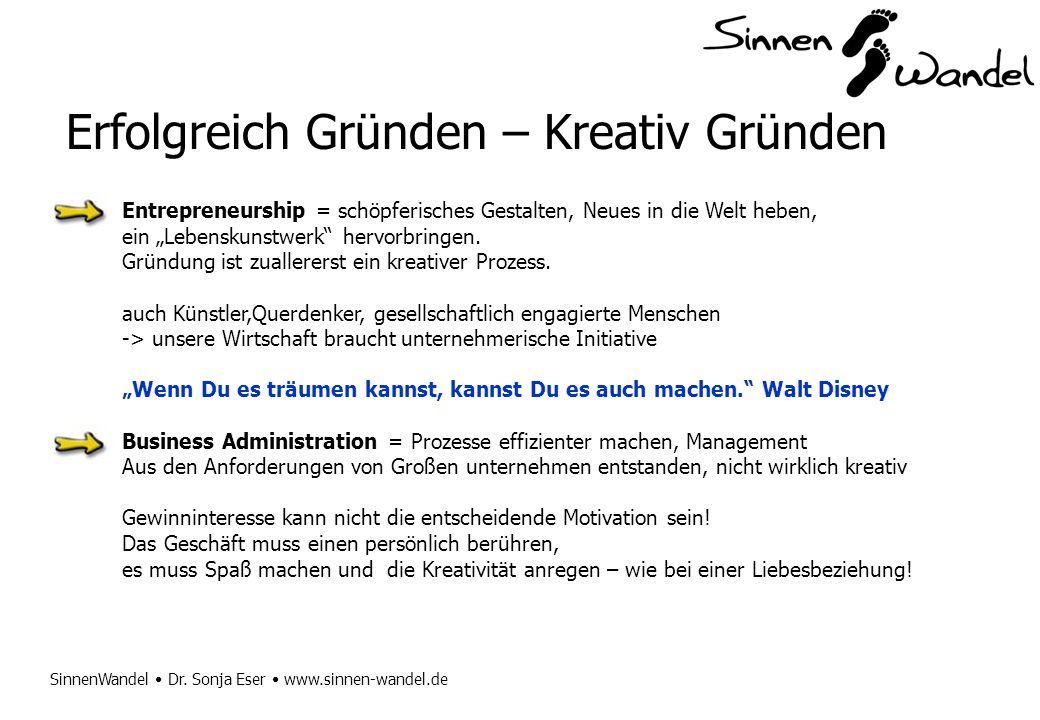 SinnenWandel Dr. Sonja Eser www.sinnen-wandel.de Erfolgreich Gründen – Kreativ Gründen Entrepreneurship = schöpferisches Gestalten, Neues in die Welt