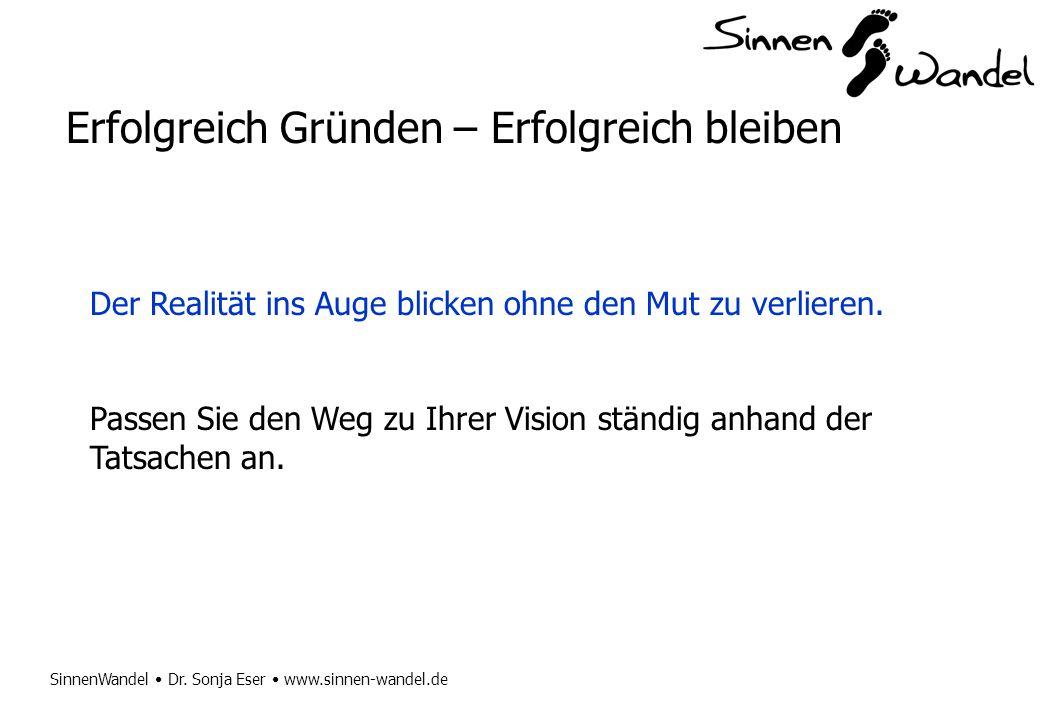 SinnenWandel Dr. Sonja Eser www.sinnen-wandel.de Erfolgreich Gründen – Erfolgreich bleiben Der Realität ins Auge blicken ohne den Mut zu verlieren. Pa