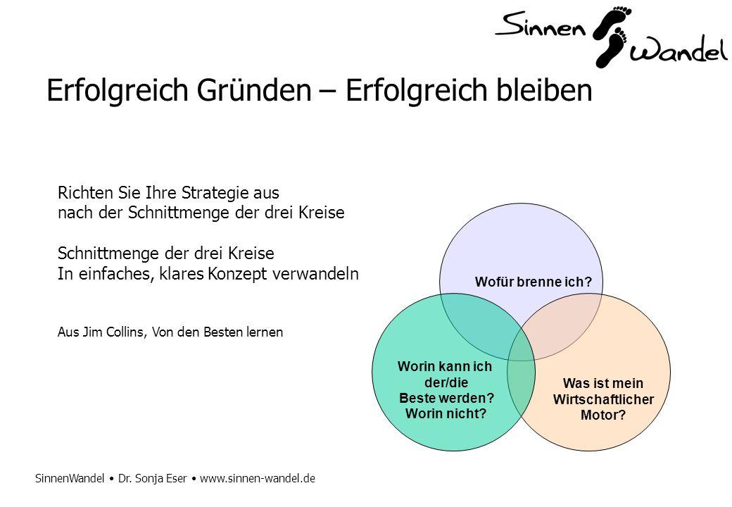 SinnenWandel Dr. Sonja Eser www.sinnen-wandel.de Erfolgreich Gründen – Erfolgreich bleiben Richten Sie Ihre Strategie aus nach der Schnittmenge der dr