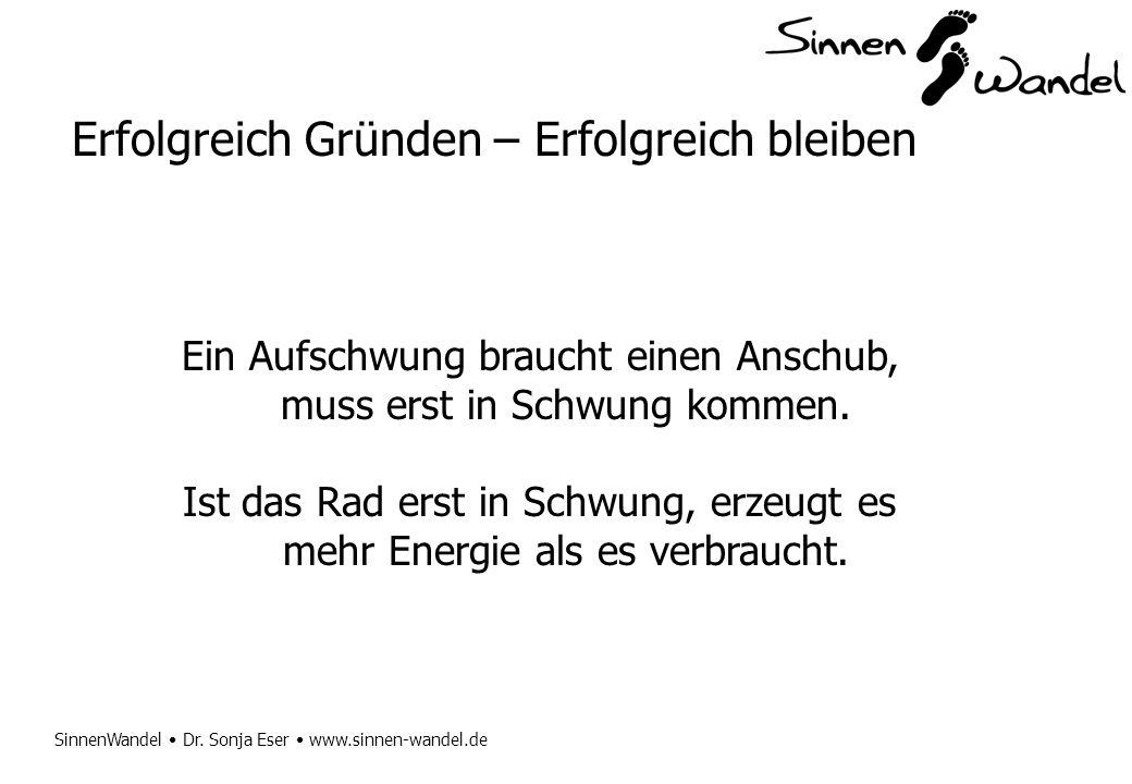 SinnenWandel Dr. Sonja Eser www.sinnen-wandel.de Erfolgreich Gründen – Erfolgreich bleiben Ein Aufschwung braucht einen Anschub, muss erst in Schwung