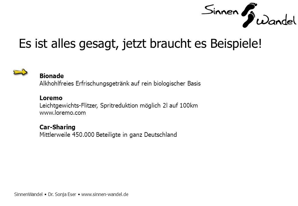 SinnenWandel Dr. Sonja Eser www.sinnen-wandel.de Es ist alles gesagt, jetzt braucht es Beispiele! Bionade Alkhohlfreies Erfrischungsgetränk auf rein b