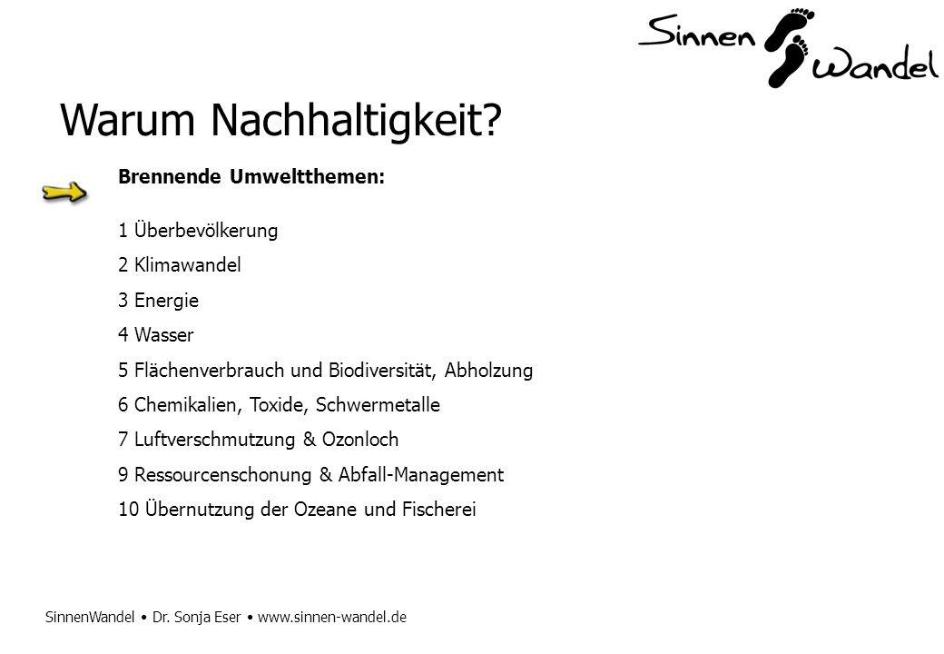 SinnenWandel Dr. Sonja Eser www.sinnen-wandel.de Warum Nachhaltigkeit? Brennende Umweltthemen: 1 Überbevölkerung 2 Klimawandel 3 Energie 4 Wasser 5 Fl