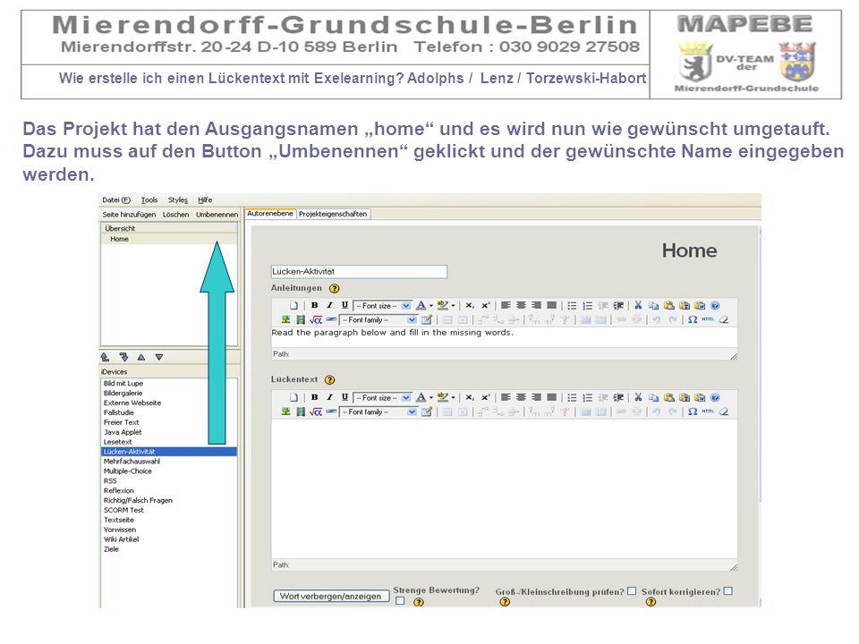 Wie erstelle ich einen Lückentext mit Exelearning? Adolphs / Lenz / Torzewski-Habort Das Projekt hat den Ausgangsnamen home und es wird nun wie gewüns