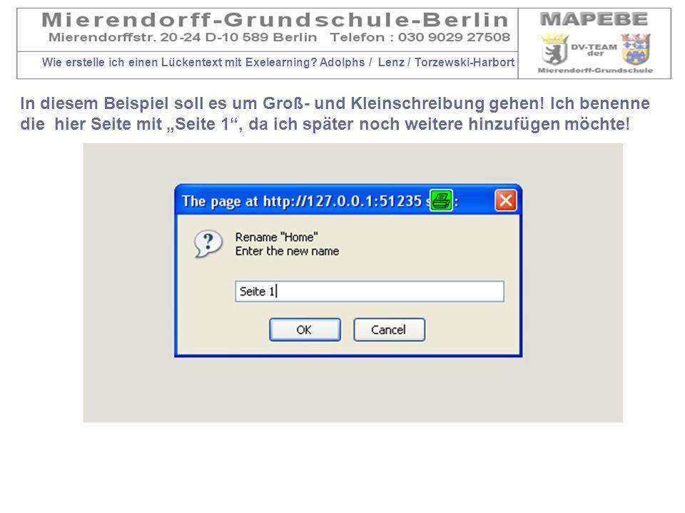 Wie erstelle ich einen Lückentext mit Exelearning? Adolphs / Lenz / Torzewski-Harbort In diesem Beispiel soll es um Groß- und Kleinschreibung gehen! I