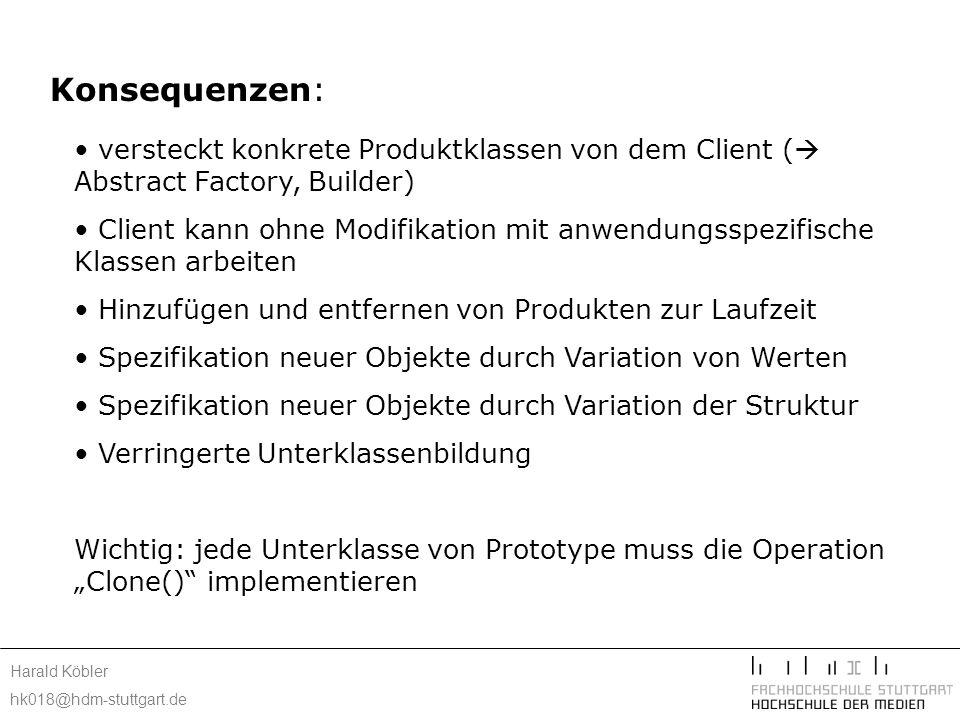 Harald Köbler hk018@hdm-stuttgart.de Konsequenzen: versteckt konkrete Produktklassen von dem Client ( Abstract Factory, Builder) Client kann ohne Modi