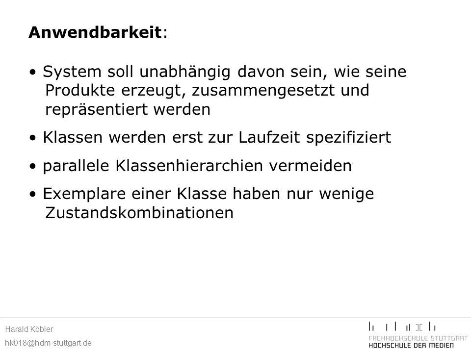 Harald Köbler hk018@hdm-stuttgart.de Implementierung: statisch typisierten Programmiersprachen wie C++ Verwendung von Prototypenverwalter Implementierung der Clone()-Operation shallow copy – deep copy