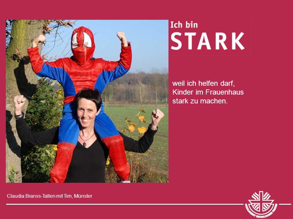 Claudia Branss-Tallen mit Tim, Münster weil ich helfen darf, Kinder im Frauenhaus stark zu machen.