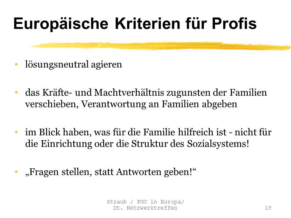 Europäische Kriterien für Profis lösungsneutral agieren das Kräfte- und Machtverhältnis zugunsten der Familien verschieben, Verantwortung an Familien
