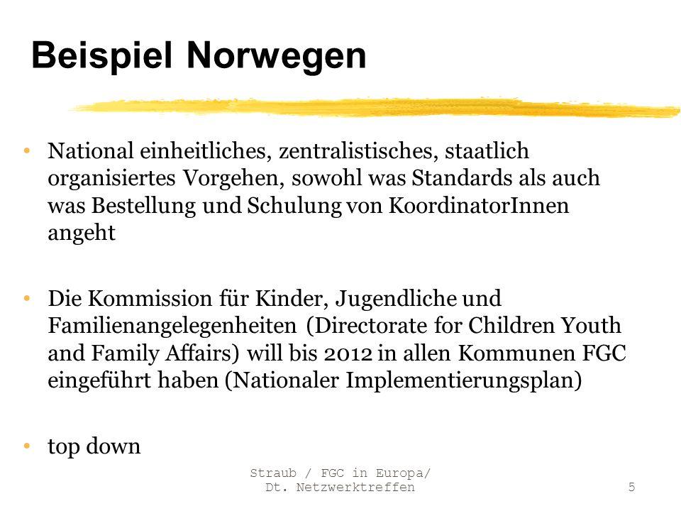 Straub / FGC in Europa/ Dt. Netzwerktreffen5 Beispiel Norwegen National einheitliches, zentralistisches, staatlich organisiertes Vorgehen, sowohl was