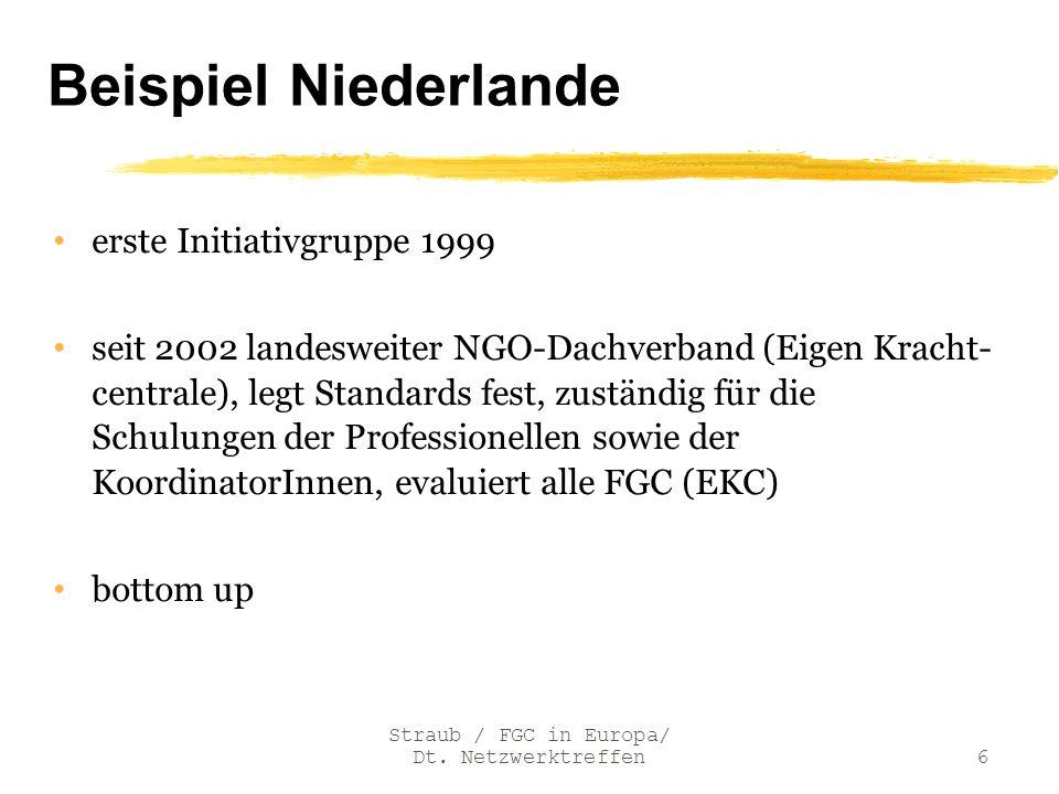 Gemeinsamkeiten/ core values Europäische Kriterien für label die Family-only-Phase als Dreh- und Angelpunkt doppelte Unabhängigkeit der KoordinatorInnen (von der Sozialadministration, aber auch von der Familie) die Teilnahme der Kinder und Jugendlichen schon in der Vorbereitung und erst recht in der Konferenz, adäquate Berücksichtigung ihrer Bedürfnisse ausreichende Vorbereitungszeit, um eine sorgfältige und alle Beteiligten ausreichend einbeziehende Hinführung auf die FGC zu gewährleisten Straub / FGC in Europa/ Dt.