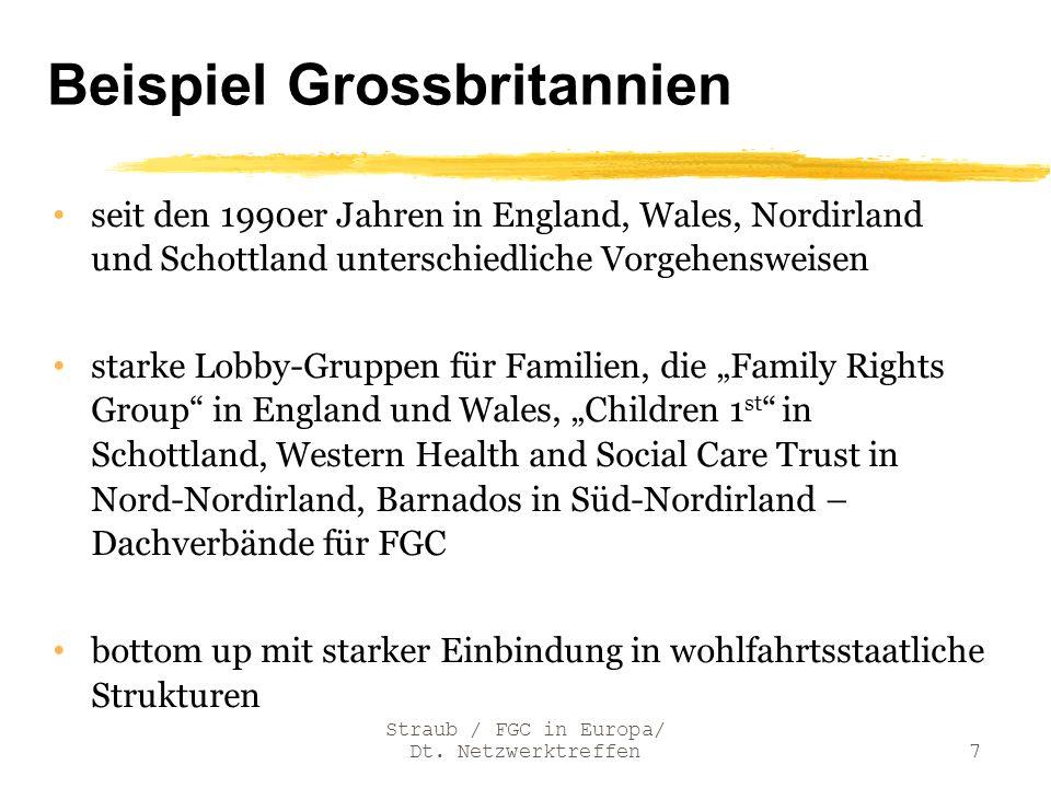 Beispiel Grossbritannien seit den 1990er Jahren in England, Wales, Nordirland und Schottland unterschiedliche Vorgehensweisen starke Lobby-Gruppen für