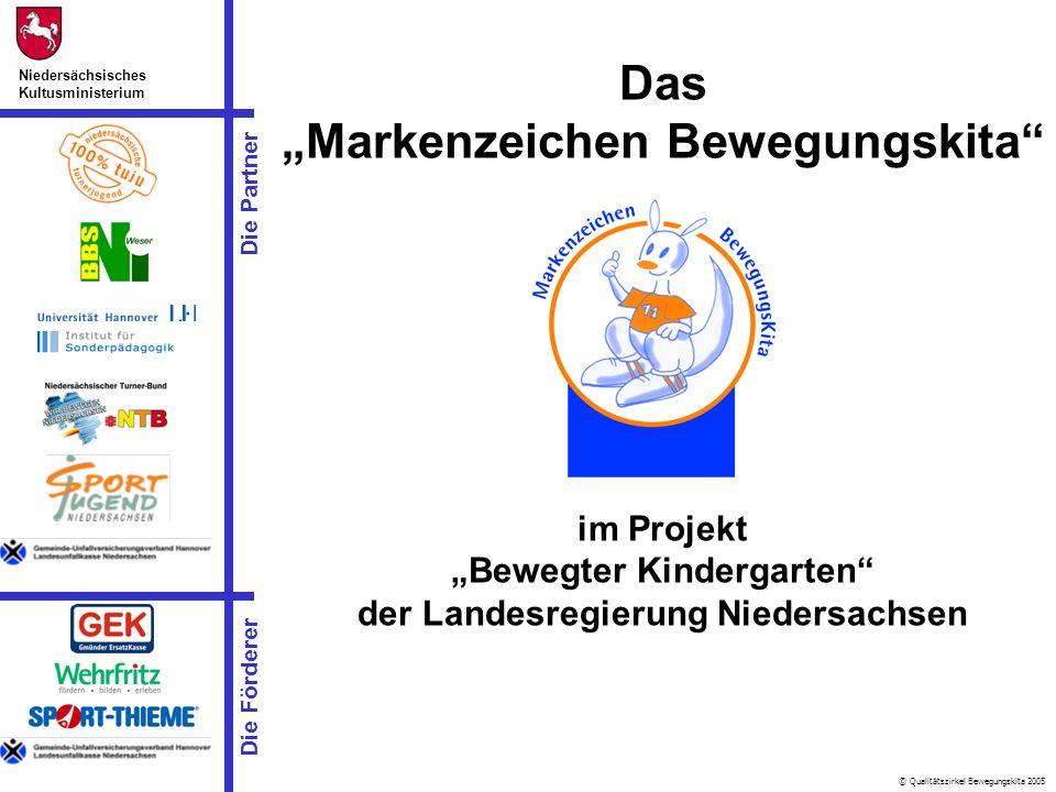 © Qualitätszirkel Bewegungskita 2005 Die Partner Niedersächsisches Kultusministerium Die Förderer Das Markenzeichen Bewegungskita im Projekt Bewegter