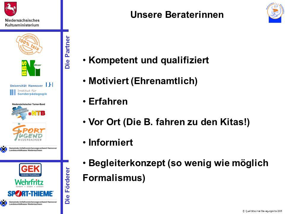 © Qualitätszirkel Bewegungskita 2005 Die Partner Niedersächsisches Kultusministerium Die Förderer Kompetent und qualifiziert Motiviert (Ehrenamtlich)
