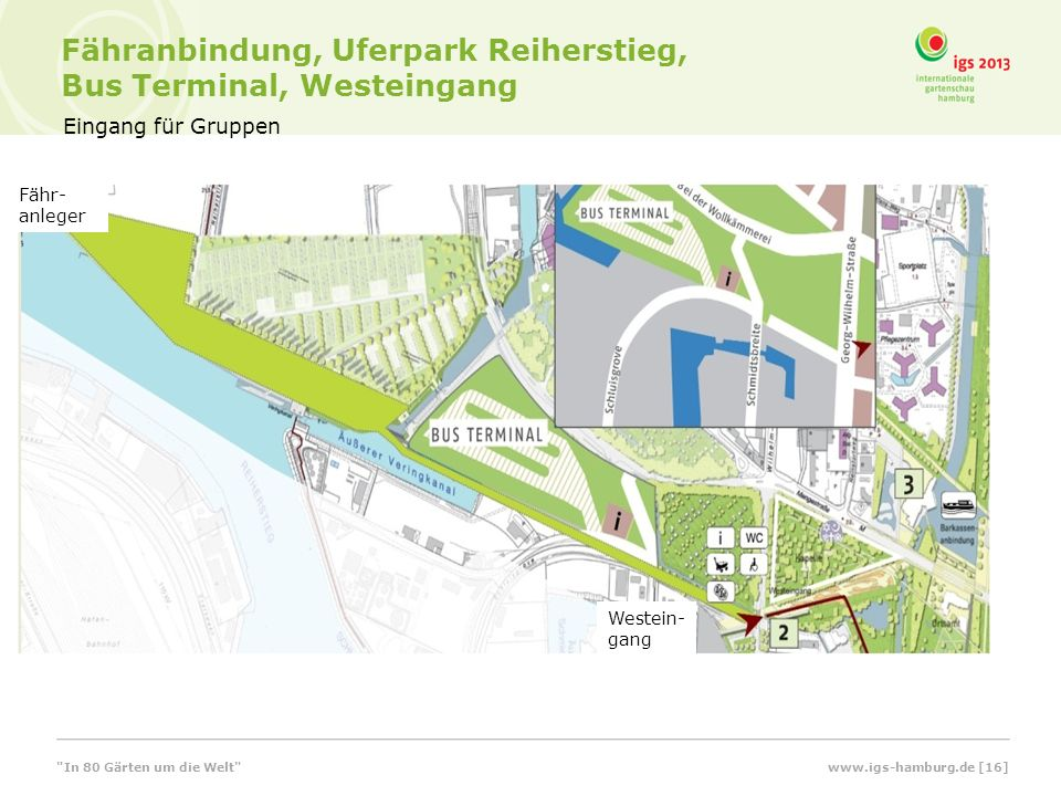 Eingang für Gruppen Fähranbindung, Uferpark Reiherstieg, Bus Terminal, Westeingang Fähr- anleger Westein- gang www.igs-hamburg.de [16]