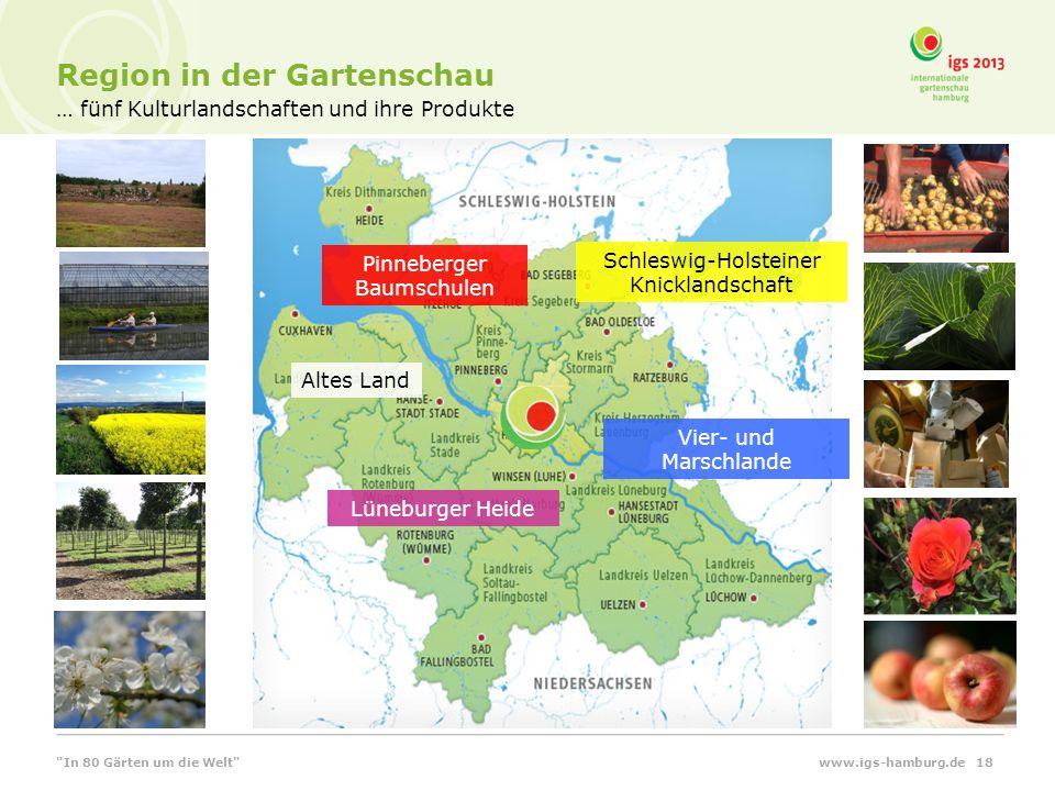 … fünf Kulturlandschaften und ihre Produkte Region in der Gartenschau www.igs-hamburg.de 18 Pinneberger Baumschulen Altes Land Lüneburger Heide Vier-