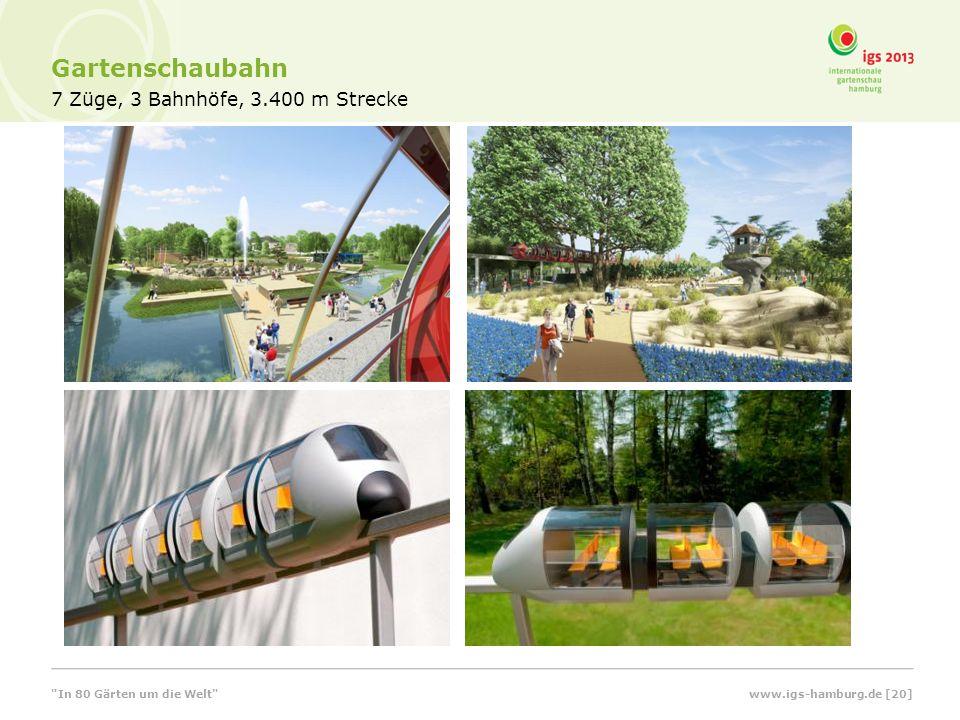 Gartenschaubahn 7 Züge, 3 Bahnhöfe, 3.400 m Strecke www.igs-hamburg.de [20] In 80 Gärten um die Welt