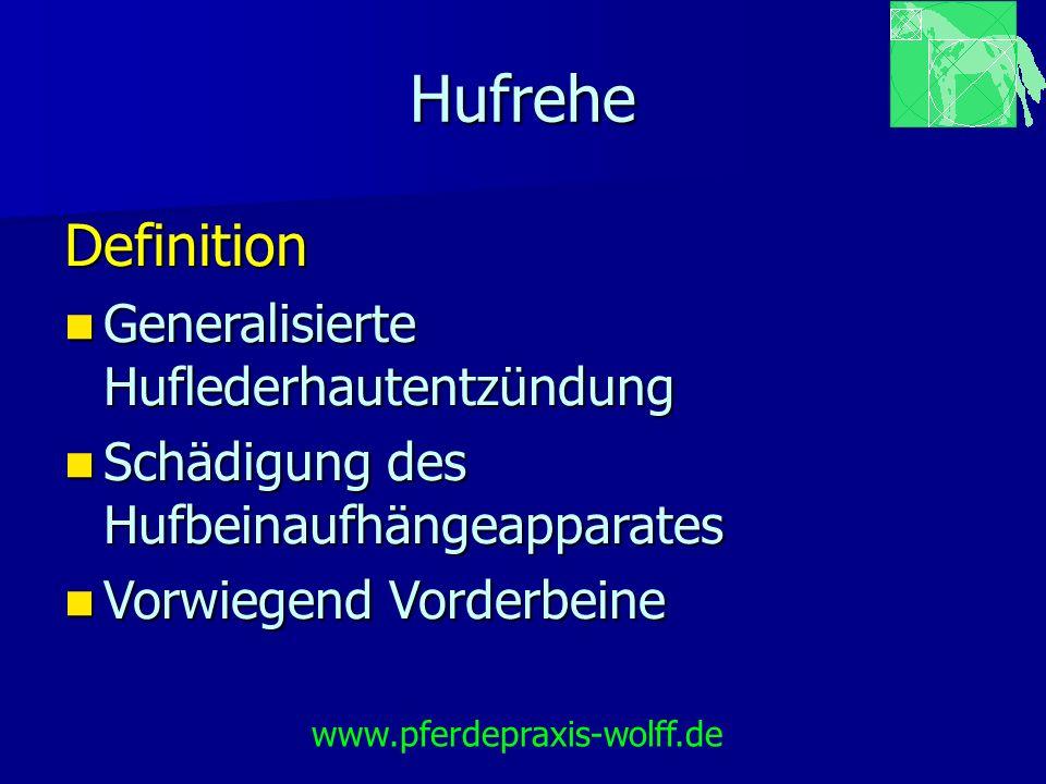 Hufrehe Ursachen Hormonell bedingte Rehe Cushing Syndrom (Hypophysenadenom) Cushing Syndrom (Hypophysenadenom) iatrogen (Cortisoninjektion) iatrogen (Cortisoninjektion) www.pferdepraxis-wolff.de