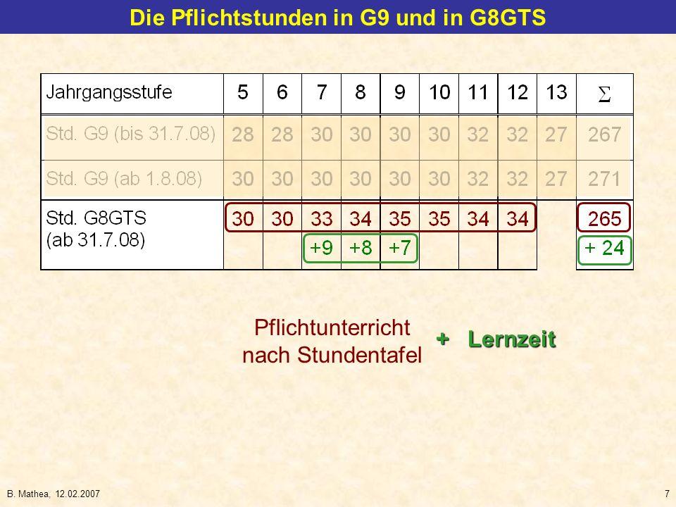 B. Mathea, 12.02.20078 Die Pflichtstunden in G9 und in G8GTS Orientierungsstufe