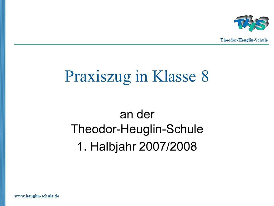 Theodor-Heuglin-Schule www.heuglin-schule.de Praxiszug in Klasse 8 an der Theodor-Heuglin-Schule 1. Halbjahr 2007/2008