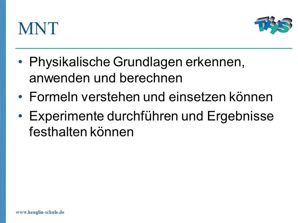 www.heuglin-schule.de MNT Physikalische Grundlagen erkennen, anwenden und berechnen Formeln verstehen und einsetzen können Experimente durchführen und