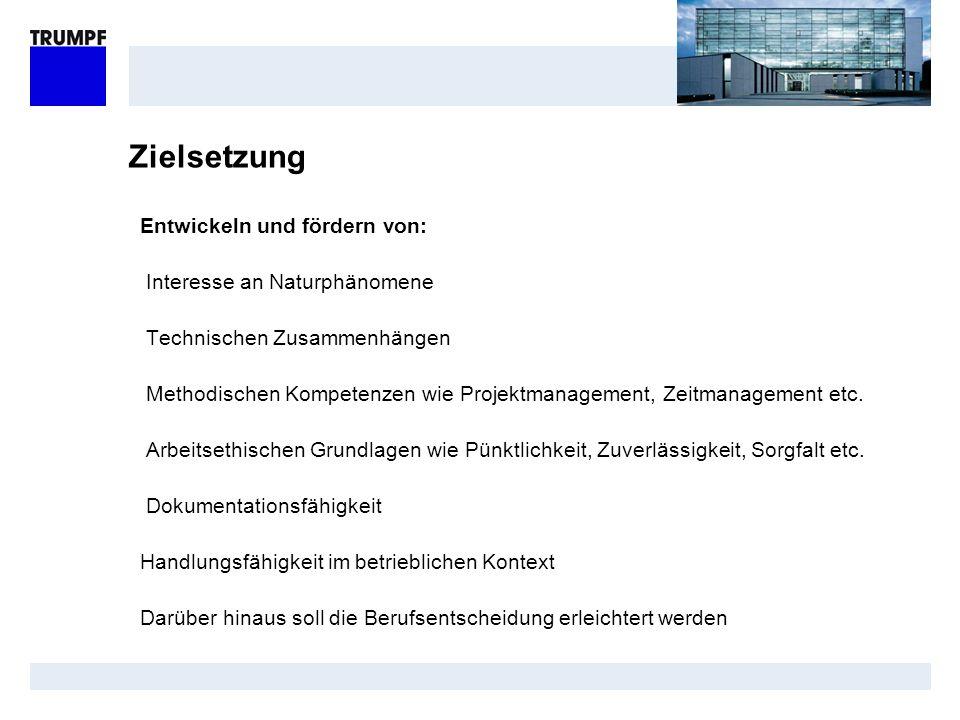 Zielsetzung Entwickeln und fördern von: Interesse an Naturphänomene Technischen Zusammenhängen Methodischen Kompetenzen wie Projektmanagement, Zeitman