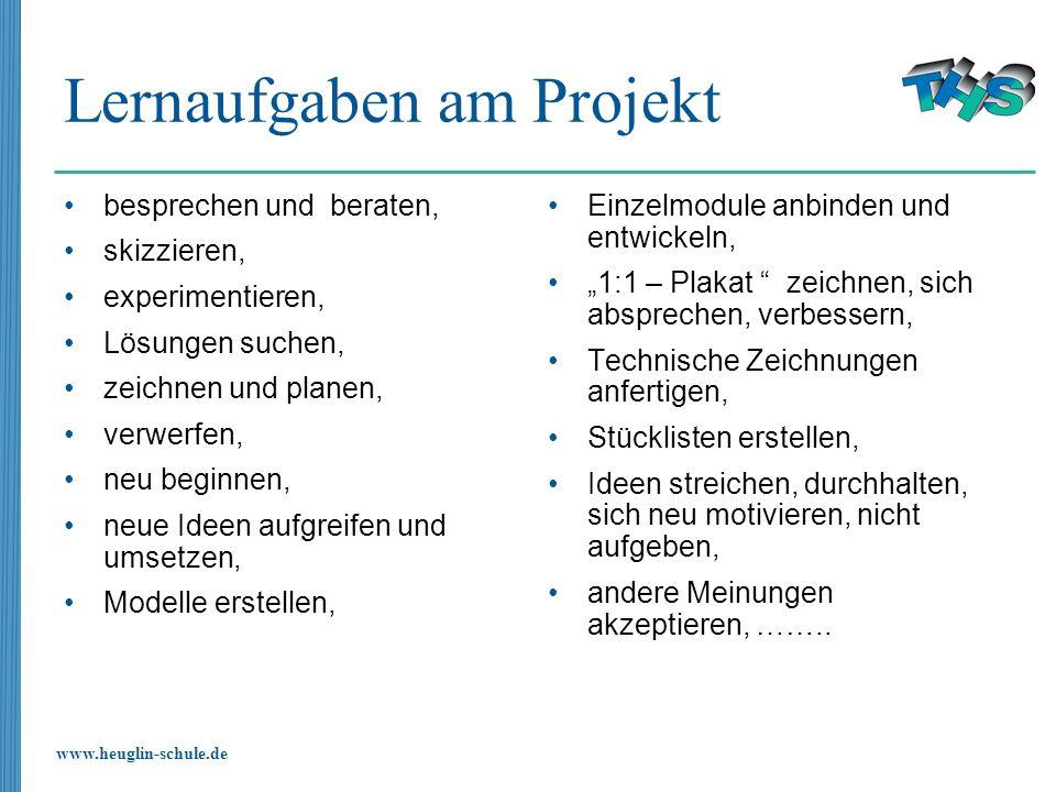 www.heuglin-schule.de Lernaufgaben am Projekt besprechen und beraten, skizzieren, experimentieren, Lösungen suchen, zeichnen und planen, verwerfen, ne