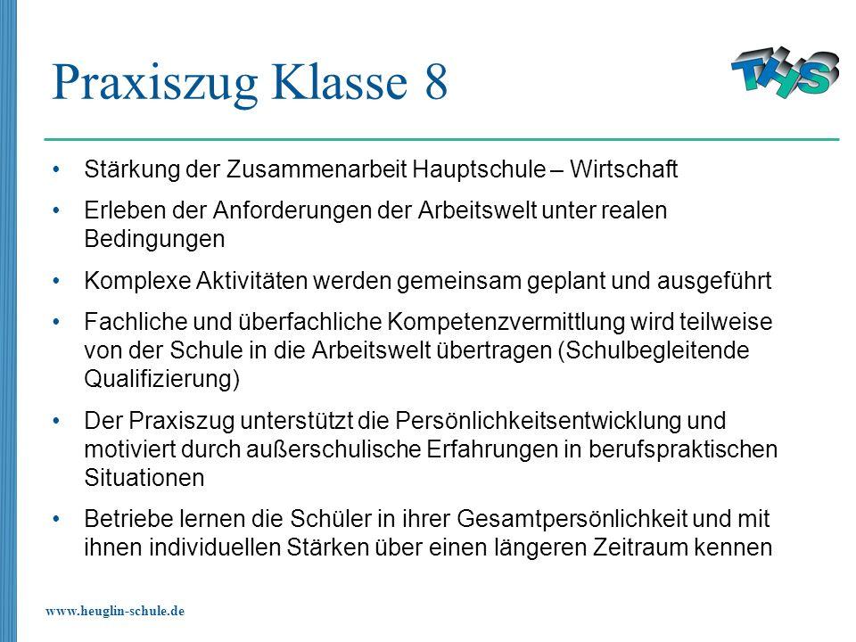 www.heuglin-schule.de Praxiszug Klasse 8 Stärkung der Zusammenarbeit Hauptschule – Wirtschaft Erleben der Anforderungen der Arbeitswelt unter realen B