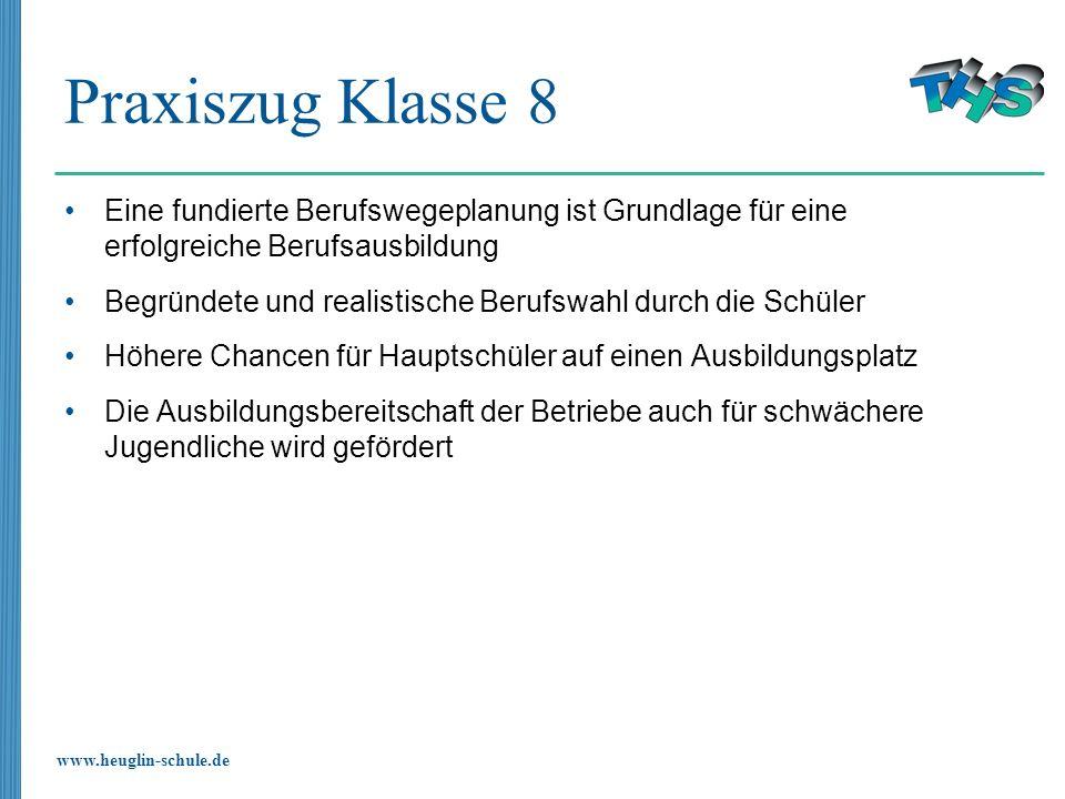 www.heuglin-schule.de Praxiszug Klasse 8 Eine fundierte Berufswegeplanung ist Grundlage für eine erfolgreiche Berufsausbildung Begründete und realisti