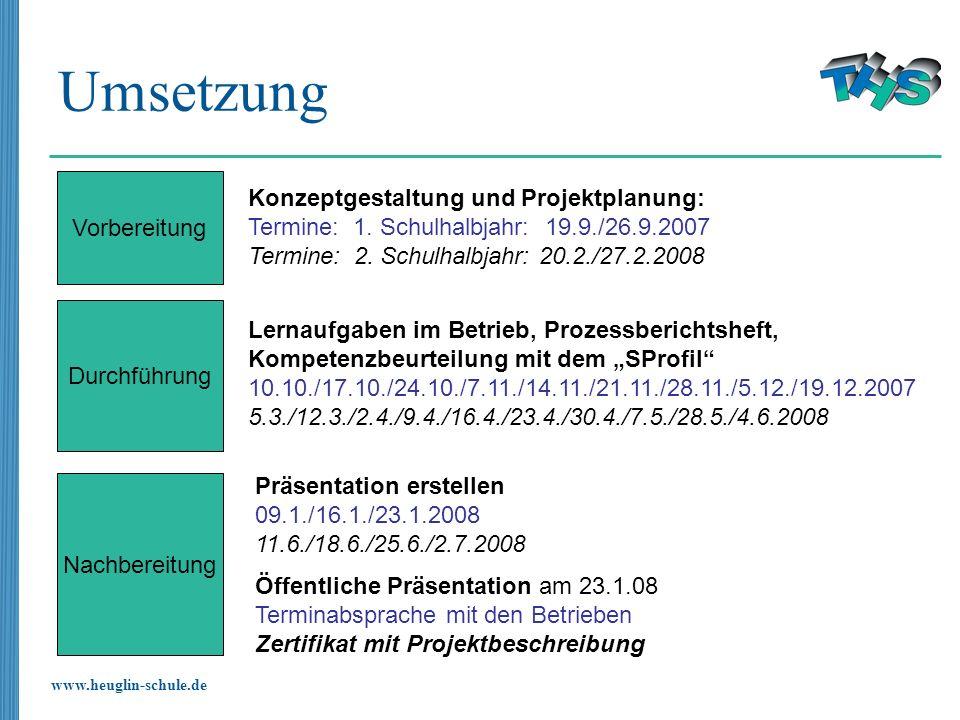 www.heuglin-schule.de Umsetzung Vorbereitung Konzeptgestaltung und Projektplanung: Termine: 1. Schulhalbjahr: 19.9./26.9.2007 Termine: 2. Schulhalbjah