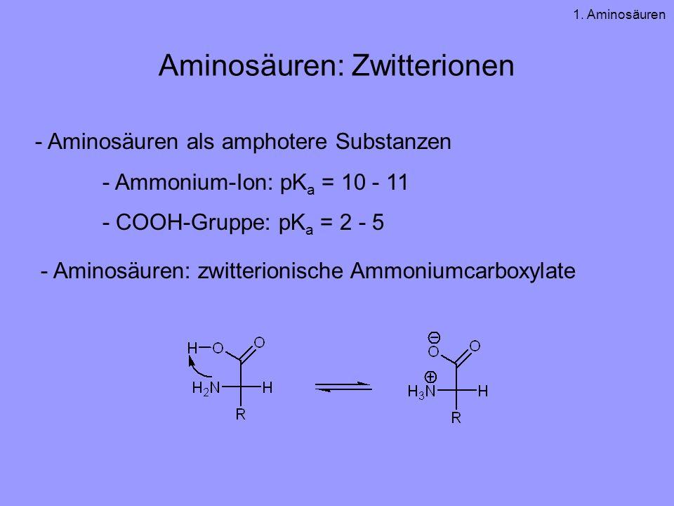 Aminosäuren: Zwitterionen - Aminosäuren als amphotere Substanzen - Ammonium-Ion: pK a = 10 - 11 - COOH-Gruppe: pK a = 2 - 5 - Aminosäuren: zwitterionische Ammoniumcarboxylate 1.
