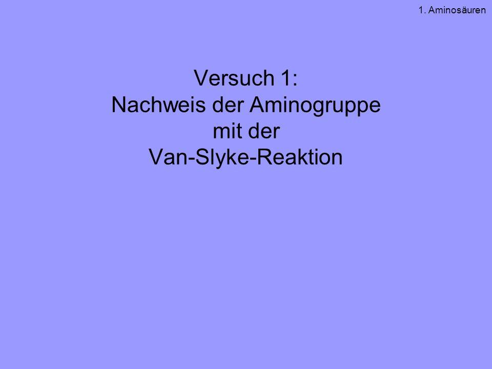 Versuch 1: Nachweis der Aminogruppe mit der Van-Slyke-Reaktion 1. Aminosäuren
