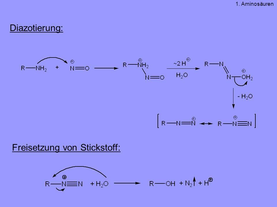 Diazotierung: Freisetzung von Stickstoff: 1. Aminosäuren