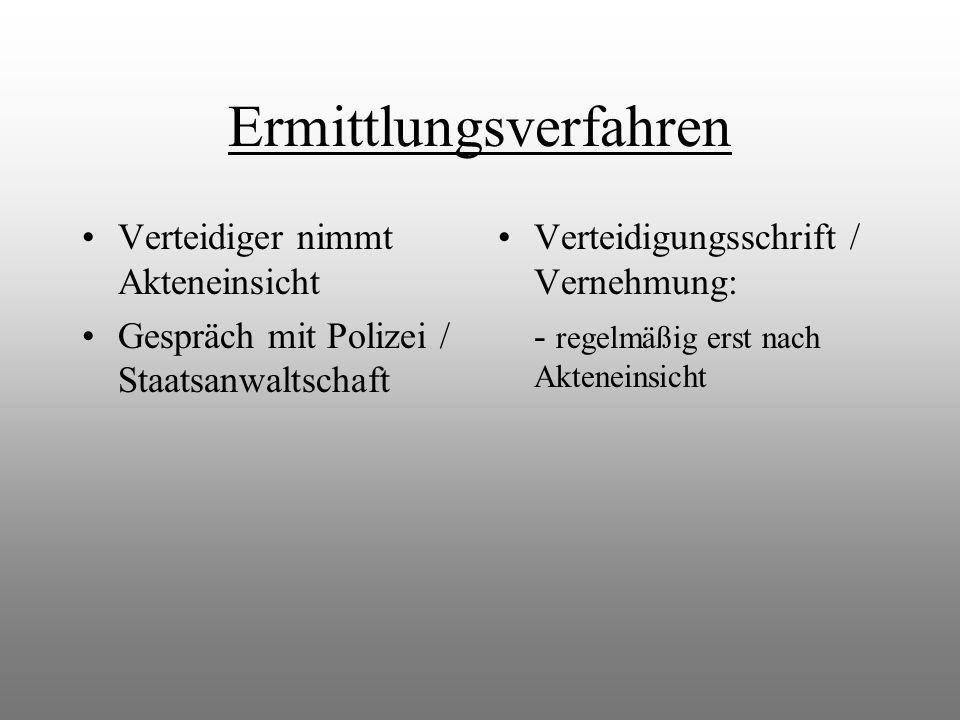 Ermittlungsverfahren Verteidiger nimmt Akteneinsicht Gespräch mit Polizei / Staatsanwaltschaft Verteidigungsschrift / Vernehmung: - regelmäßig erst na