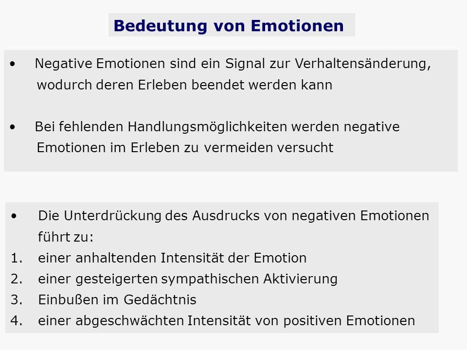 Die Unterdrückung des Ausdrucks von negativen Emotionen führt zu: 1. einer anhaltenden Intensität der Emotion 2. einer gesteigerten sympathischen Akti