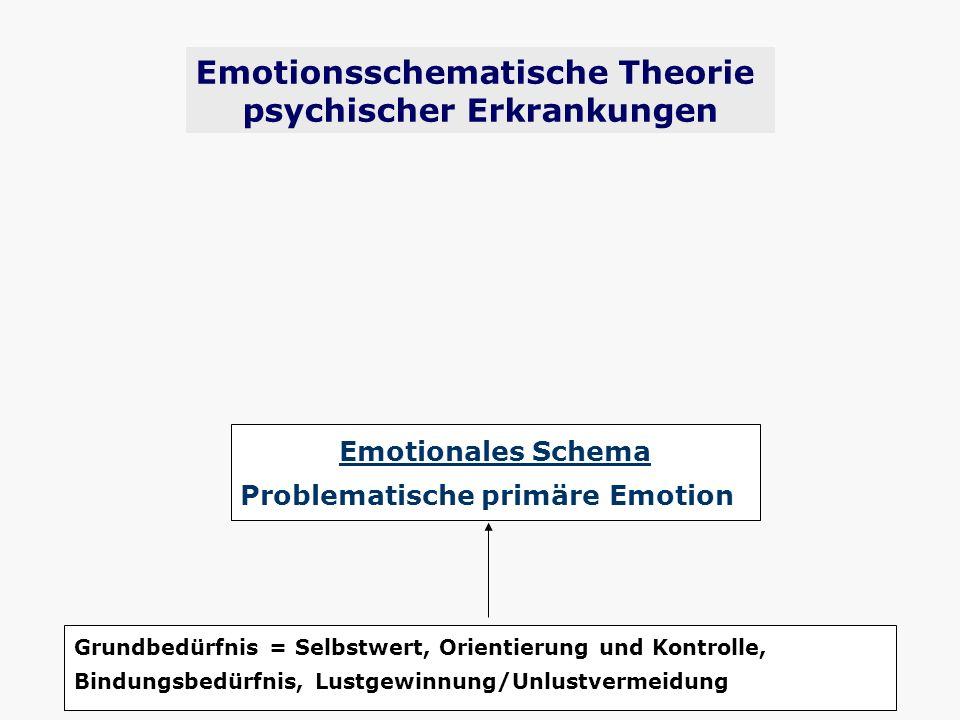 Grundbedürfnis = Selbstwert, Orientierung und Kontrolle, Bindungsbedürfnis, Lustgewinnung/Unlustvermeidung Emotionales Schema Problematische primäre E
