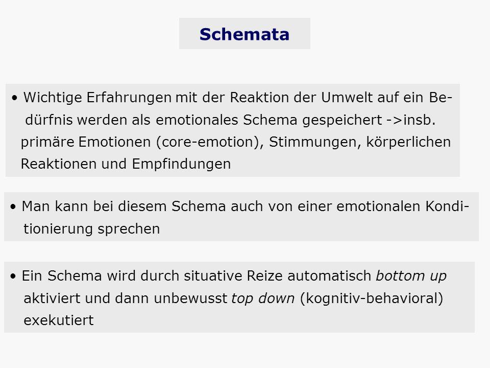 Schemata Wichtige Erfahrungen mit der Reaktion der Umwelt auf ein Be- dürfnis werden als emotionales Schema gespeichert ->insb. primäre Emotionen (cor