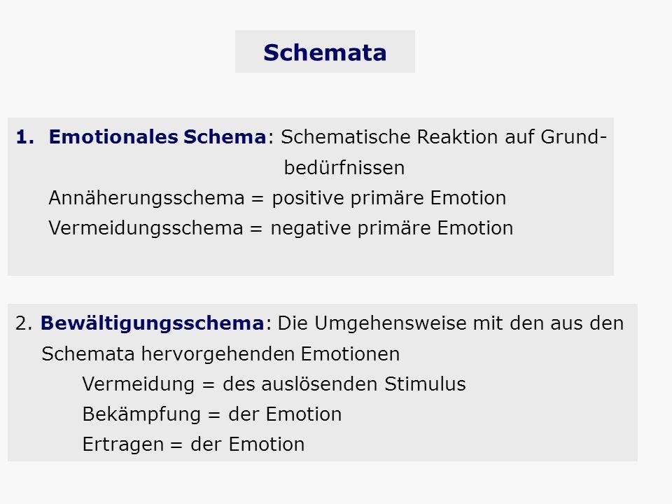Schemata 2. Bewältigungsschema: Die Umgehensweise mit den aus den Schemata hervorgehenden Emotionen Vermeidung = des auslösenden Stimulus Bekämpfung =