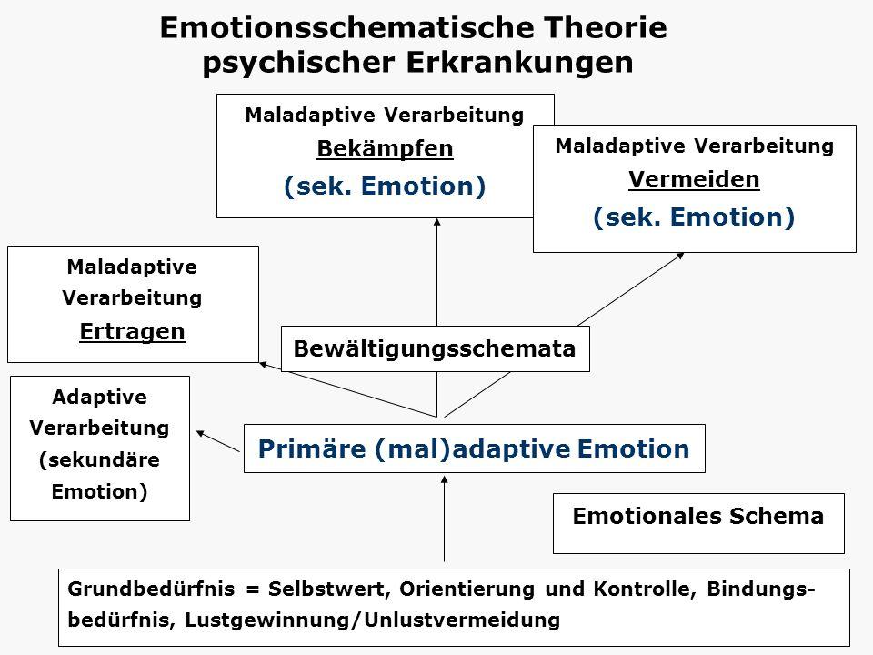 Grundbedürfnis = Selbstwert, Orientierung und Kontrolle, Bindungs- bedürfnis, Lustgewinnung/Unlustvermeidung Primäre (mal)adaptive Emotion Maladaptive