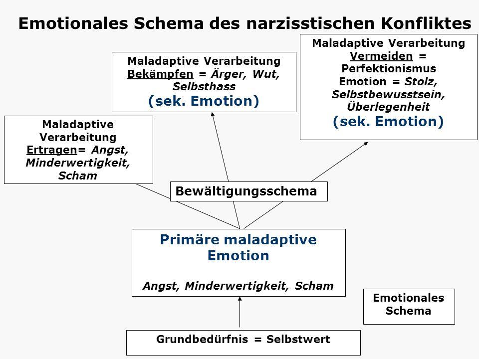 Grundbedürfnis = Selbstwert Primäre maladaptive Emotion Angst, Minderwertigkeit, Scham Maladaptive Verarbeitung Bekämpfen = Ärger, Wut, Selbsthass (se