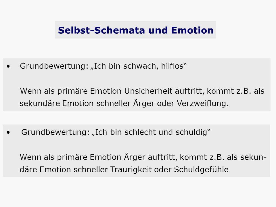 Grundbewertung: Ich bin schwach, hilflos Wenn als primäre Emotion Unsicherheit auftritt, kommt z.B. als sekundäre Emotion schneller Ärger oder Verzwei
