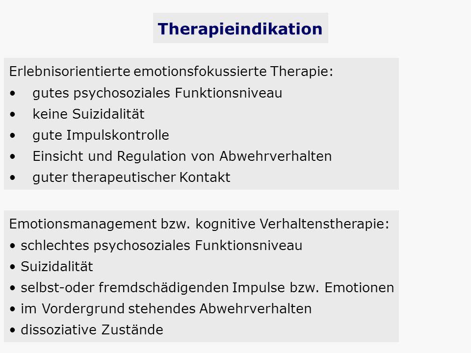 Erlebnisorientierte emotionsfokussierte Therapie: gutes psychosoziales Funktionsniveau keine Suizidalität gute Impulskontrolle Einsicht und Regulation