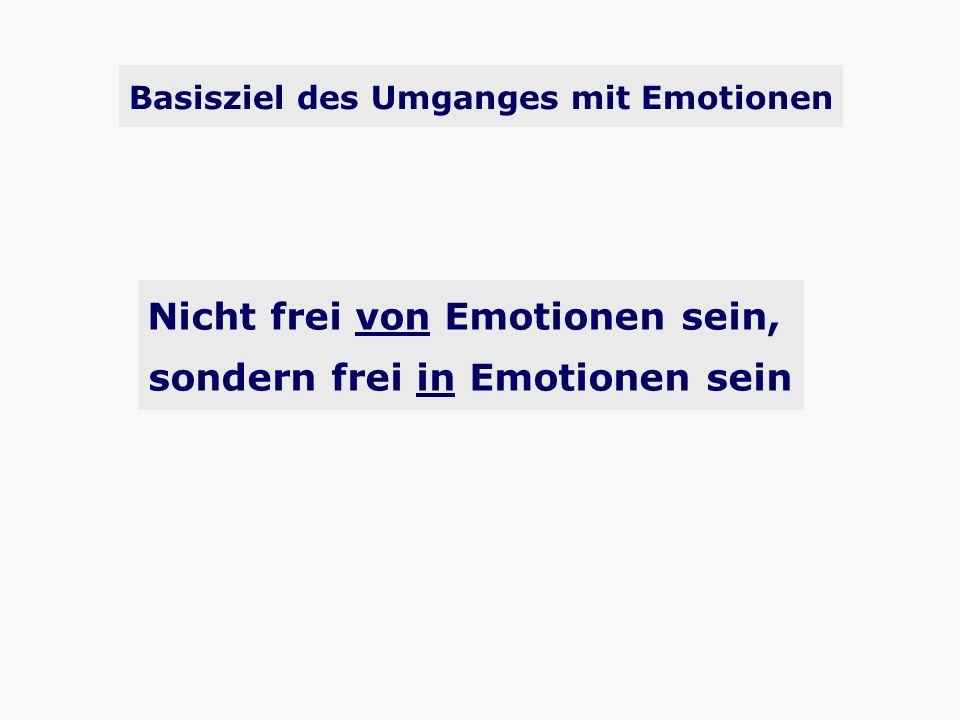 Basisziel des Umganges mit Emotionen Nicht frei von Emotionen sein, sondern frei in Emotionen sein