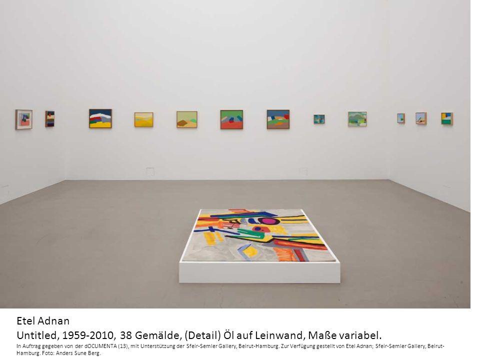 Etel Adnan Untitled, 1959-2010, 38 Gemälde, (Detail) Öl auf Leinwand, Maße variabel.