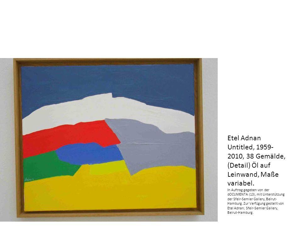 Etel Adnan Untitled, 1959- 2010, 38 Gemälde, (Detail) Öl auf Leinwand, Maße variabel.