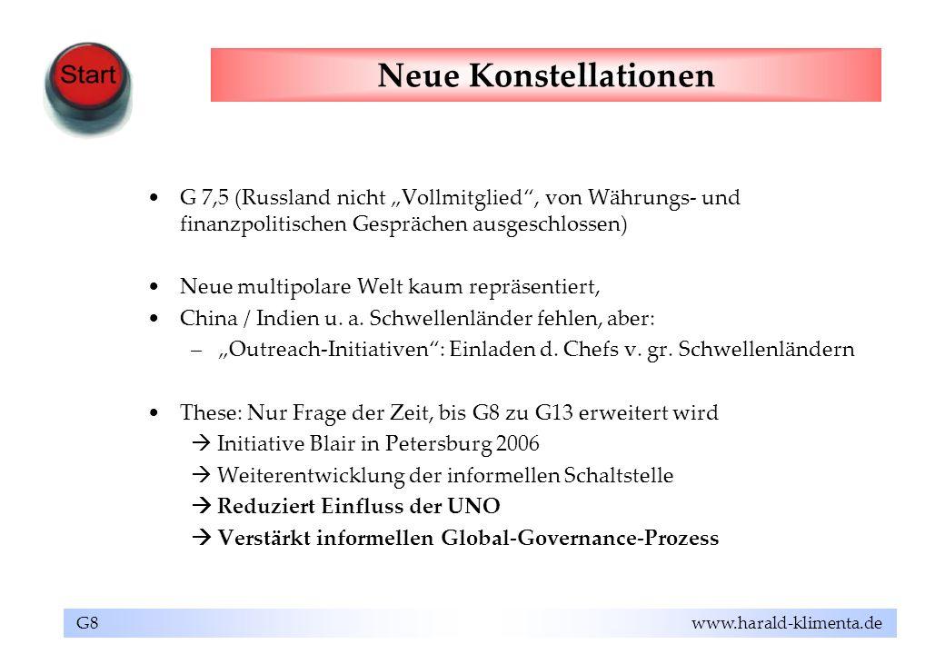 G8 www.harald-klimenta.de Neue Konstellationen G 7,5 (Russland nicht Vollmitglied, von Währungs- und finanzpolitischen Gesprächen ausgeschlossen) Neue