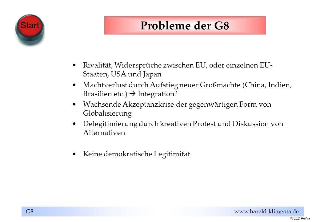 G8 www.harald-klimenta.de Probleme der G8 Rivalität, Widersprüche zwischen EU, oder einzelnen EU- Staaten, USA und Japan Machtverlust durch Aufstieg n