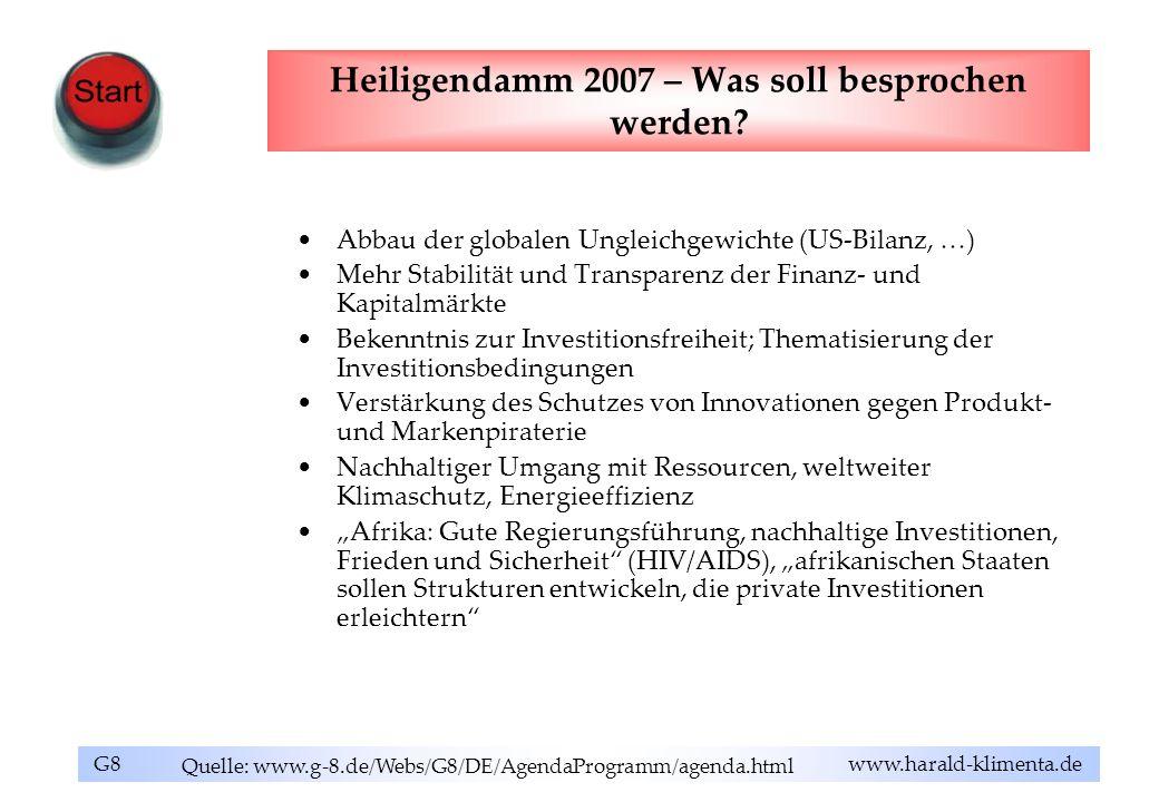 G8 www.harald-klimenta.de Heiligendamm 2007 – Was soll besprochen werden? Abbau der globalen Ungleichgewichte (US-Bilanz, …) Mehr Stabilität und Trans